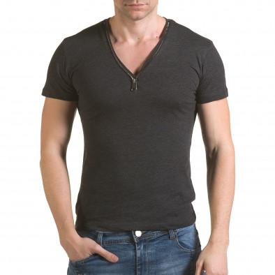 Мъжка сива тениска с цип на деколтето il170216-64 2