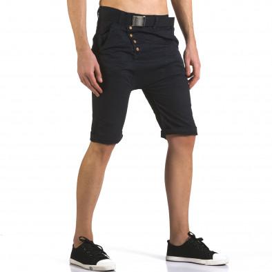 Мъжки сини къси панталони с колан New Star 5
