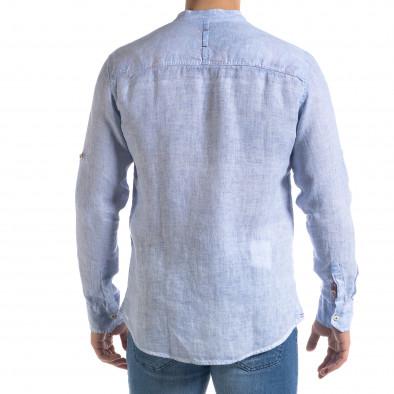 Мъжка синя риза от лен с яка столче tr110320-89 4