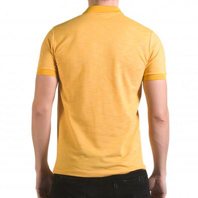 Мъжка жълта тениска с яка с лого il170216-40 3