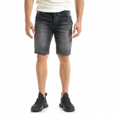 Washed мъжки черни къси дънки tr140520-1 2