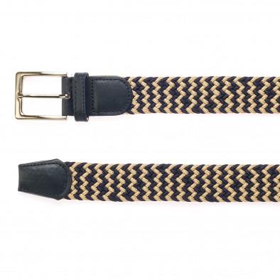 Мъжки плетен колан в бежово и синьо it250915-3 2