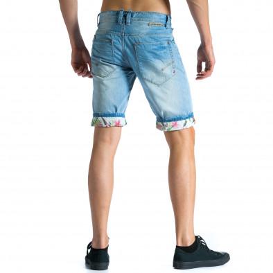 Мъжки светло сини къси дънки с подплата на цветя tsf300514-23 2
