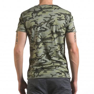 Мъжка тениска тъмно зелен камуфлаж Wilfed 4