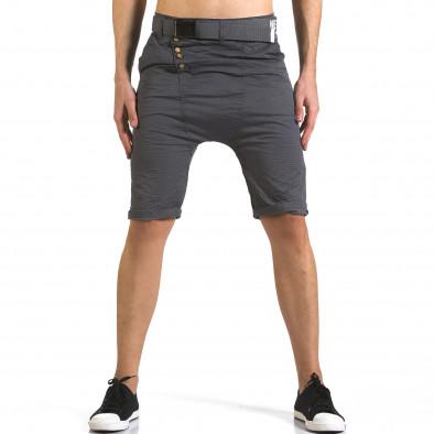Мъжки сиви къси панталони с колан it110316-44 2