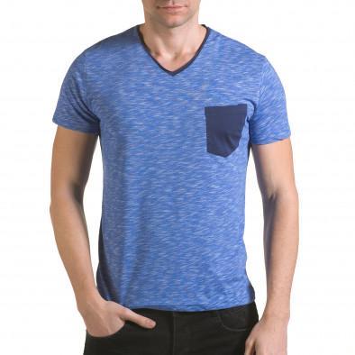 Мъжка синя тениска с тъмно син джоб il170216-14 2