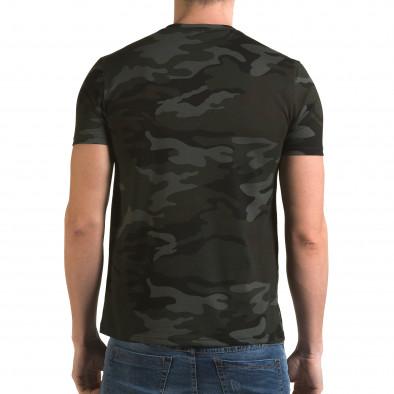 Мъжка тениска тъмно зелен камуфлаж с принт it090216-64 3