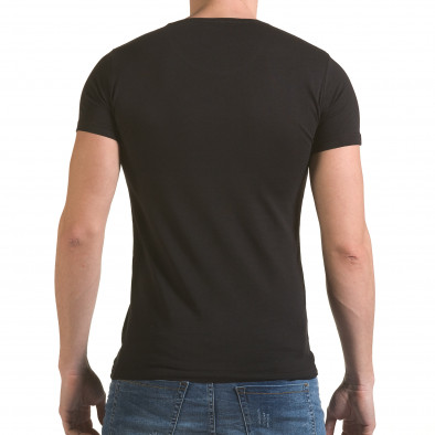 Мъжка черна тениска с принт крила и Италианското знаме il170216-80 3