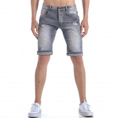 Мъжки сиви къси дънки с декоративни скъсвания it050617-32 2
