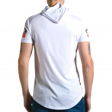 Мъжка бяла тениска с качулка и номер 58 ca190116-42 3