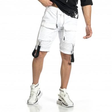 Мъжки бели къси панталони Cargo Hip Hop it150521-31 2