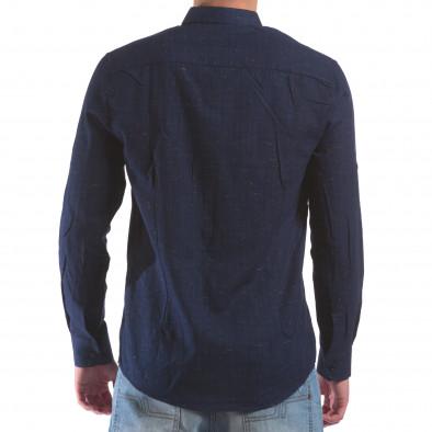Мъжка синя риза с малки разноцветни детайли il210616-29 3