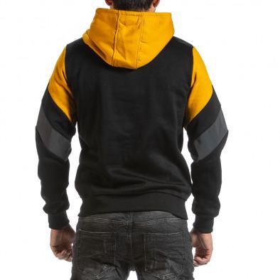 Мъжки черен суичър с контрастни детайли gr070921-47 3