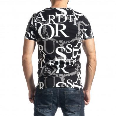 Мъжка черна тениска с десен tr010221-2 3