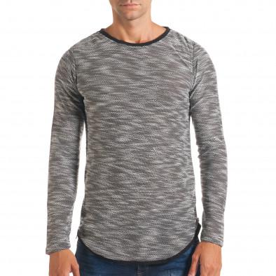 Мъжка светло сива блуза със странични ципове it180816-10 2