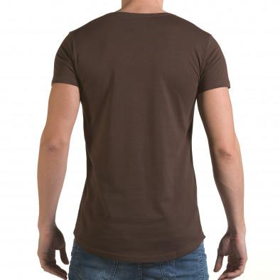 Мъжка кафява тениска с релефен надпис C&B il170216-87 3