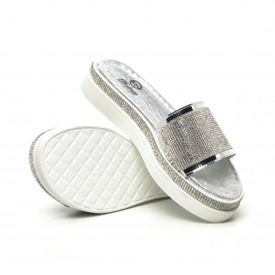 Дамски сребристи чехли с камъчета tr180320-3 4