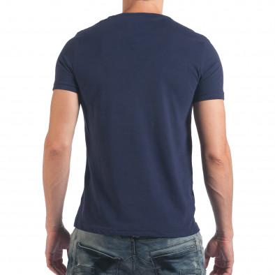 Мъжка синя тениска с надпис Dark Black il060616-3 3