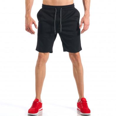 Мъжки черни шорти с апликация на крачола it110418-21 3