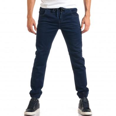 Мъжки тъмно сини дънки с ластик на кръста it160916-7 2