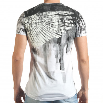 Мъжка бяла тениска с як принт и странични ципове tsf140416-4 3