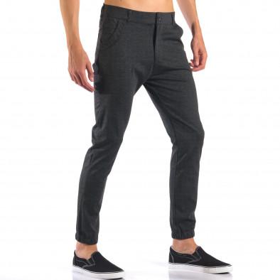 Мъжки тъмно сив панталон с еластични маншети на крачолите it160616-27 4