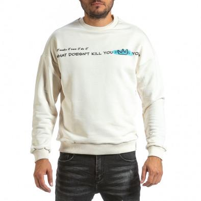 Мъжка ватирана бяла блуза с принт на гърба tr070921-38 3