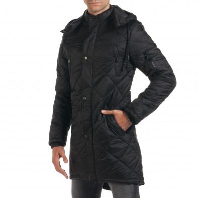 Мъжко дълго зимно яке в черно с качулка it190616-9 4