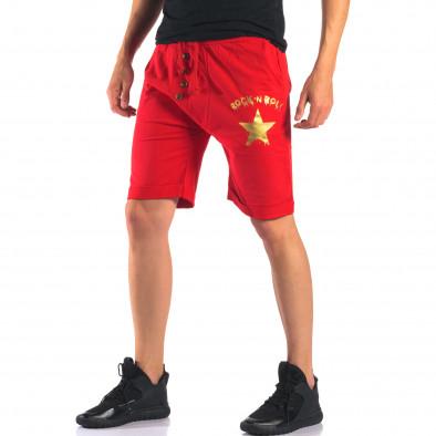 Мъжки червени шорти със златна звезда it160616-14 4