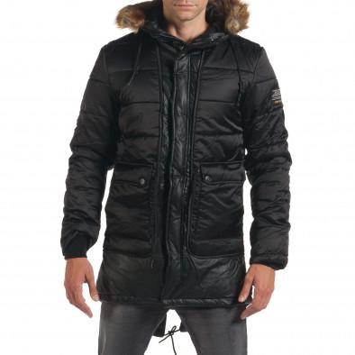 Мъжко дълго зимно яке в черно с връзки на кръста it190616-11 2