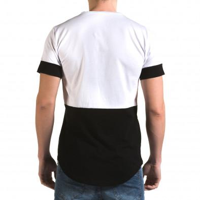 Мъжка бяла тениска с черна долна част it090216-70 3