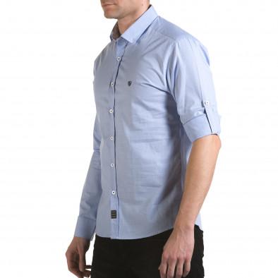 Мъжка синя риза на много фини квадратчета il170216-110 4