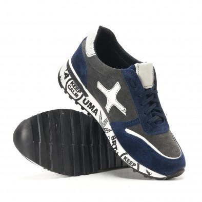 Мъжки синьо-сиви маратонки от естествен велур с надписи по подметките it291117-22 4