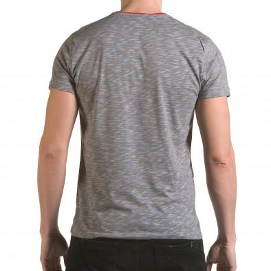 Мъжка сива тениска с червен джоб il170216-17 3