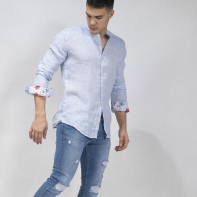 Мъжка синя риза от лен с яка столче tr110320-89 2