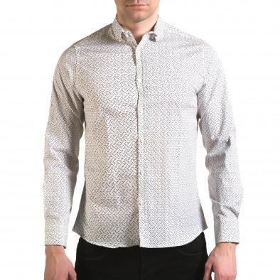 Мъжка бяла риза с малки разноцветни детайли Jeanscollic 5