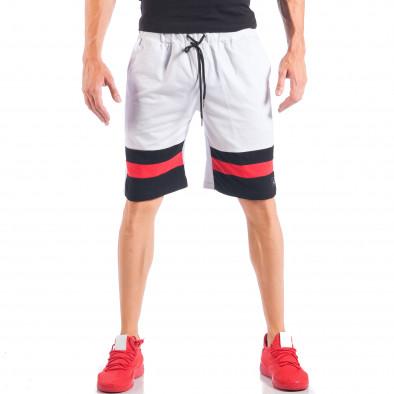 Бели мъжки шорти с ивици и метална звезда it050618-43 2