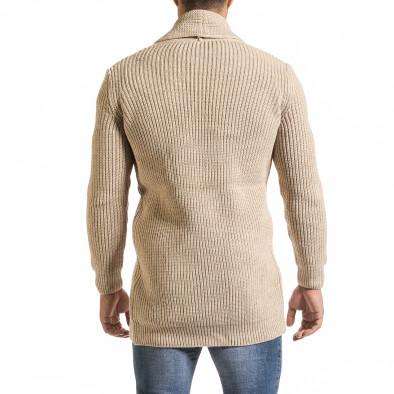 Мъжка бежова жилетка с яка шал it301020-31 4