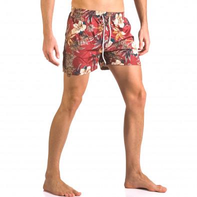 Мъжки червени бански тип шорти на цветя ca050416-21 4