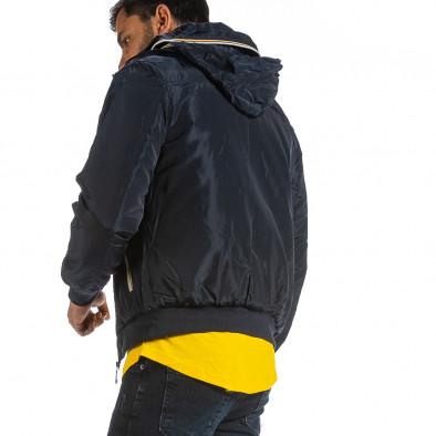 Мъжко синьо яке с прибираща се качулка it070921-29 4