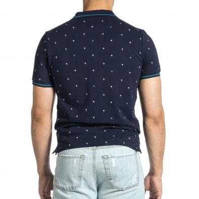 Мъжка тъмносиня тениска пике с палми it150521-16 3