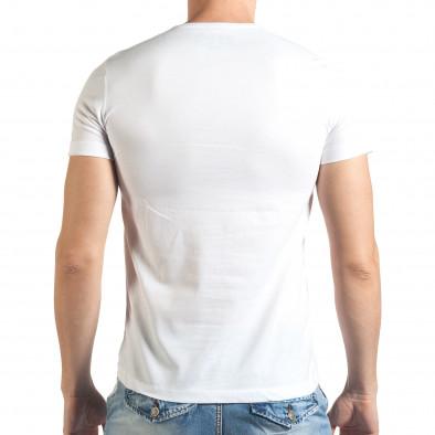 Мъжка бяла тениска с надпис Just Relax 4