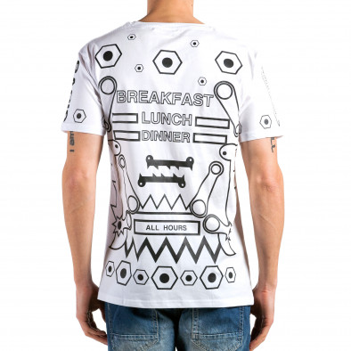 Мъжка бяла тениска с геометрични принтове Kariqu 4