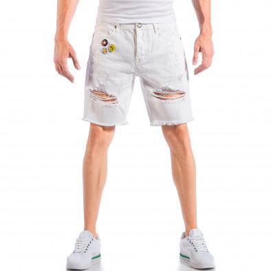 Бели мъжки къси дънки със скъсвания и значки it050618-25 2