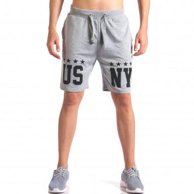 Сиви мъжки шорти за спорт с надпис US NY it260416-19 2