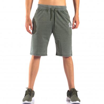 Зелени мъжки шорти с леко избелял ефект it160616-2 2