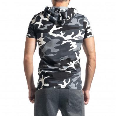 Мъжка тениска с качулка сив камуфлаж tr010221-27 3