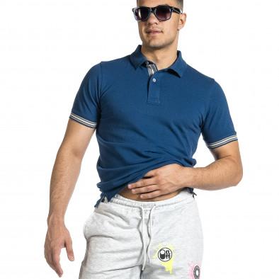 Мъжка синя тениска с яка и раирано бие it150521-17 4