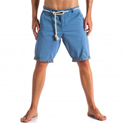 Мъжки сини къси панталони с въжен колан ca090514-8 3