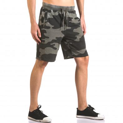 Мъжки къси панталони тип шорти зелен камуфлаж ca050416-46 4
